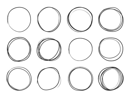Hand drawn circles. Round doodle loops, circular sketch highlights. Circular scribble black pencil stroke brush illustration on white background. Circle vector isolated set Illusztráció