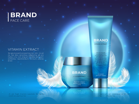 Cosmetic product background. Night skin care beauty brand cream realistic 3D lotion container. Vector cosmetic promotion 3D poster template Illustration