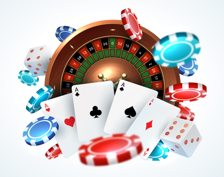 Playing cards poker chips. Falling dice online casino gambling realistic 3D gaming concept with vector leisure lucky roulette
