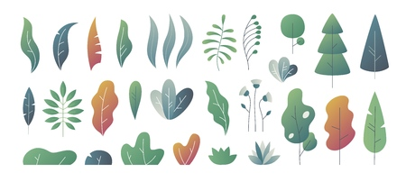 Flat minimal leaves. Fantasy colors gradation, leaves bushes and trees design templates, nature gradient plants. Vector cute autumn leaves 向量圖像