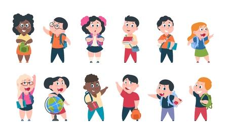 Dzieci w szkole. Dzieci z kreskówek z książkami i przyborami szkolnymi, szczęśliwi śliczni chłopcy i dziewczęta postacie uczniów. Zestaw edukacji szkolnej wektor