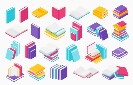 Flat books icons. Stack of open and close books, magazines textbooks and brochures, vector group of books for learning and education in library Ilustração
