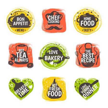Food doodle icon. Restaurant kitchen badge, cafe cooking menu typography, bistro gastronomy recipe. Vector hand drawn bar set Illustration