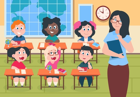 Kids in classroom. Teacher and pupils in elementary school, cute cartoon boys and girls happy characters studying. Vector children raising hands