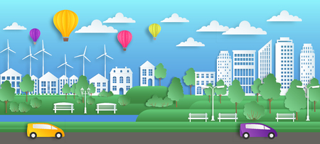 Paper city art. Summer town in origami style, green nature environment, flat clean ecology city background. Vector paper cut cityscape layout
