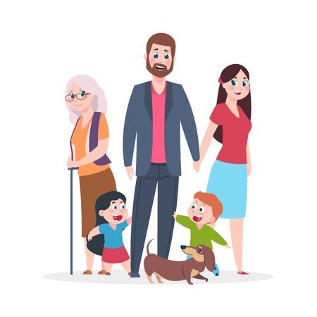 Appartement familial. Heureux embrassant des personnages debout ensemble, groupe d'enfants et grands-parents parents. Caricature de vecteur souriant bonheur les gens