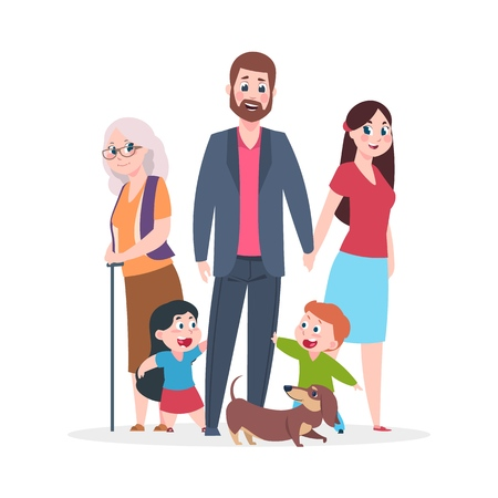 Flat family. Happy hugging people characters standing together, group of kids and parents grandparents. Vector cartoon smiling happiness people