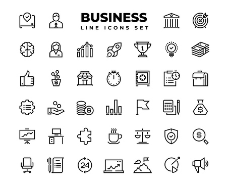 Business line icons. Finance target service support career award presentation idea strategy solution. Business professional successful outline vector set