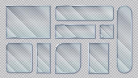 Bannières en verre réalistes. Effet fenêtre transparente, formes acryliques claires avec effets de reflets éblouissants. Formes de cadres en plastique isolés de vecteur