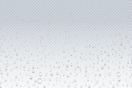 Gocce d'acqua sul vetro. Gocce di pioggia su finestra trasparente, motivo a condensazione di vapore, vetro doccia. Sfondo realistico di gocce d'acqua vettoriali