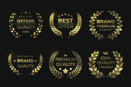 Laurel quality labels. Golden luxury badge, sale foliage wreath with text, high quality guaranteed elements. Vector sale laurels greek wreaths Иллюстрация