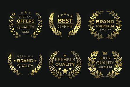 Laurel quality labels. Golden luxury badge, sale foliage wreath with text, high quality guaranteed elements. Vector sale laurels greek wreaths Ilustração Vetorial