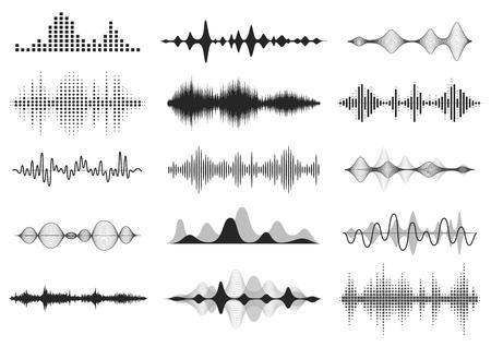 Ondas de sonido negras. Frecuencia de audio de música, forma de onda de línea de voz, señal de radio electrónica, símbolo de nivel de volumen. Conjunto de ondas de radio de curva vectorial