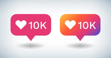 Counter Notification Icon. Social media gradient bulb with 10K followers likes comments. Vector UI button heart inspired by friend