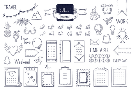 Journal hand drawn elements. Notebook doodle bullets, schedule calendar diary sketch line elements. Vector doodle bullet set