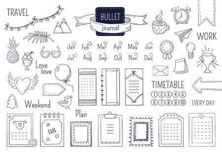 Journal hand drawn elements. Notebook doodle bullets, schedule calendar diary sketch line elements. Vector doodle bullet set Illustration