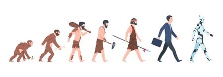 Evolution humaine. Singe, homme des cavernes à homme d'affaires et concept de dessin animé cyborg, de l'ancien singe à la croissance de l'homme. Évolution de primate de l'humanité de vecteur