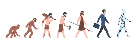 Human evolution. Monkey, caveman to businessman and cyborg cartoon concept, from ancient ape to man growth. Vector mankind primate evolution Illustration