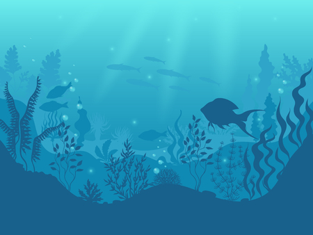 Underwater silhouette background. Undersea coral reef, ocean fish and marine algae cartoon scene, sunbeams under water. Vector aqua life and sea bottom Ilustracja