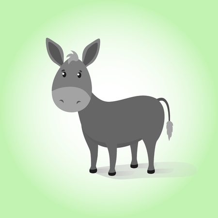 Donkey. Cartoon vector drawing illustration domestic funny calm mule. Happiness friendly gray calm