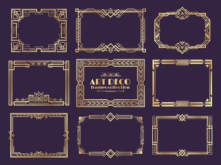 Art deco borders. 1920s golden frames, nouveau fancy decorative elements for vintage posters. Vector art deco ornament framed design set Ilustração