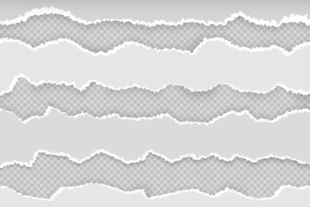 Zgrana strona papieru. Gazeta poziome podarte paski, realistyczna przezroczysta biała tekturowa krawędź rip. Wektor transparent szorstkiej krawędzi szarej ilustracji Ilustracje wektorowe