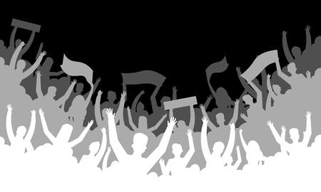 Crowd silhouette background. Soccer fan people baseball basketball football handball hockey audience tribune. Vector concert banner hall bleachers Ilustração