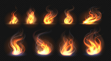 Realistic fire flames. Transparent torch effect, abstract red light flare, campfire design template. Vector hot glowing flaming elements Stock Vector - 123284832