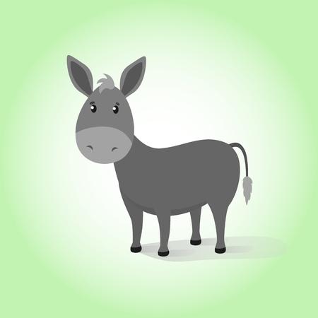 Âne. Cartoon vector illustration dessin mule calme drôle domestique. Bonheur amical gris calme