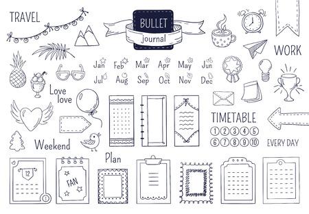 Journal handgezeichnete Elemente. Notebook-Doodle-Aufzählungszeichen, Kalendertagebuch-Skizzen-Linienelemente planen. Vektor-Doodle-Kugel-Set Vektorgrafik