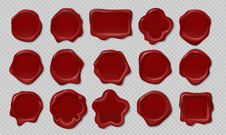 Wax stamp. Old embossed envelope label, heart triangle round royal medieval mockup cartoon shapes. Vector realistic candle wax seals Ilustración de vector