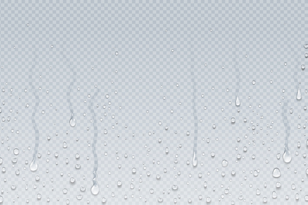 Water drops background. Shower steam condensation drips on transparent glass, rain drops on window. Vector realistic shower water drops