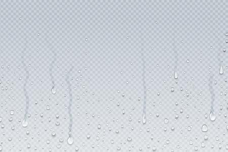 Woda spada tło. Kondensacja pary z prysznica kapie na przezroczyste szkło, krople deszczu na okno. Wektor realistyczne krople wody pod prysznic