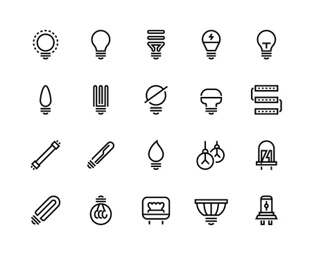 Light bulb line icons. Business idea energy efficient creative drawing think electric lamp glow power efficiency. Technology ideas vector set Illustration