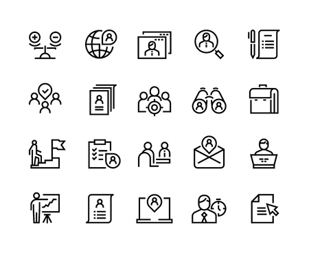 Head hunting line icons. Job interview career candidate company human resources people search. Corporate professional business team vector set