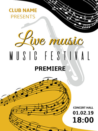 Music notes background. Abstract swirl wave musical note treble clef harmony stave classical music festival choir jazz poster. Vector illustration musically pattern Stockfoto - 122940787