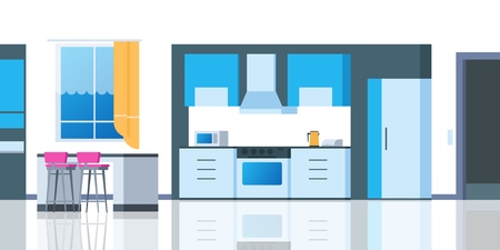 Kitchen cartoon interior. House flat room with table fridge kitchenware cartoonic oven dining apartment. Vector kitchen counter illustration Vectores