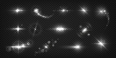 Glowing light effects. Realistic flashes and sparks, star shine and sunburst isolated transparent set. Vector shiny light white flash