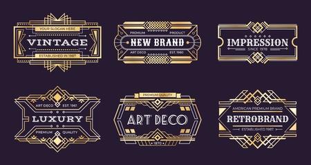 Art-Deco-Etiketten. Vektorgrafik