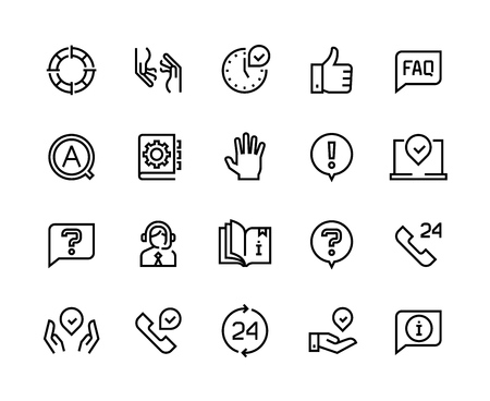Online support line icons. Service customer help information chat call assist info user manual guide. Customers support app vector set Illustration
