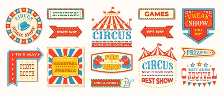 Circus labels. Carnival retro banner signs, vintage magic frames and arrows elements, welcome the show greetings.