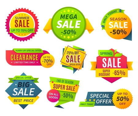Sale banners. Price tag promotion stickers labels and coupons, sale ribbon shape offer badge. Vector discount best promotions banner graphic set