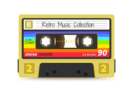Retro cassette. Vintage 1980s mix tape, stereo sound record technology, old school dj rave party. Vector audio tape label design Ilustração Vetorial