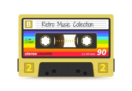 Retro-Kassette. Vintage-Mix-Tape aus den 1980er Jahren, Stereo-Tonaufzeichnungstechnologie, Old-School-DJ-Rave-Party. Vektor-Audioband-Label-Design Vektorgrafik