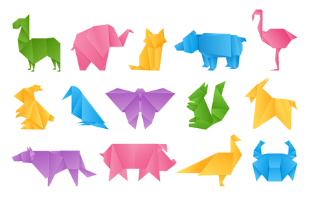 Origami animals. Paper toys, dragon ship elephant crane butterfly shape set, vector colored folding paper animals set