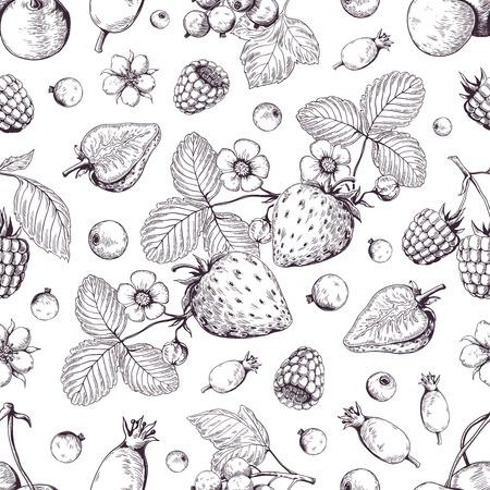 Handgezeichnetes Beerenmuster. Vintage Waldkirsche Erdbeere Brombeere Cranberry Skizzenzeichnung. Vektor-Dessert-Vintage-Menü-Hintergrund
