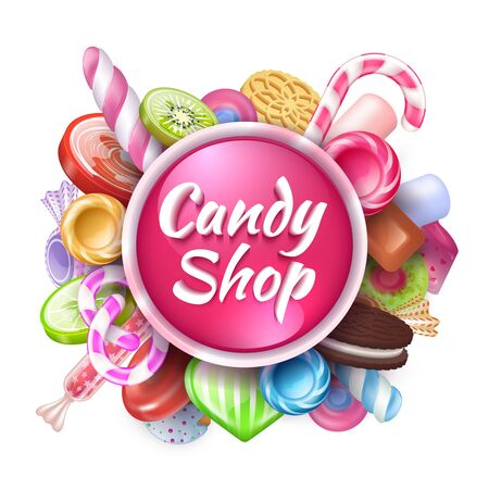 Candies background. Realistic sweets and desserts frame with text, colorful toffees lollipops and caramel bonbon. Vector isolated sweets set Ilustrace