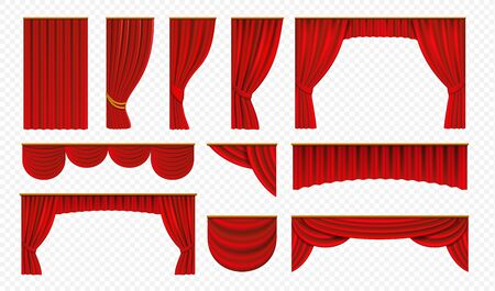 Realistic red curtains. Theater stage drapery, luxury wedding cover decoration, theatrical borders. Stock Illustratie