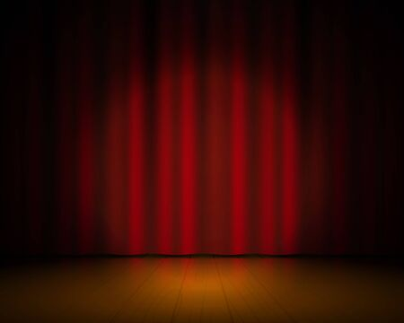 Realistic theater stage. Red curtains and spotlight, Broadway show background, elegant cinema drape. Vector textile 3D concert vintage scene