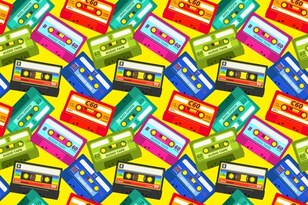 Vintage cassettes pattern. Pop music retro 1980s sound tape, old school stereo technology, dj mix tape. Vector abstract cassette illustrations background Фото со стока - 129716288